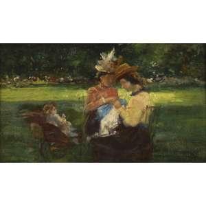 """ELISEU VISCONTI <br>""""Jardin du Luxembuurg"""" – ParisOSM 12,5 x 21,5 1905 ACID <br>Registrado no Projeto Eliseu Visconti sob noP690 <br><br>Com dedicatória no verso:<br>""""À pequena Denise última lembrança dos seus avós""""<br><br><br><br>Este trabalho pode ser considerado um estudo prévio, pela data e pelo tema muito semelhante, incluindo as figuras, do extraordinário quadro """"Maternidade"""" que se encontra na Pinacoteca do estado de São Paulo, que Visconti pintaria poucos meses depois."""