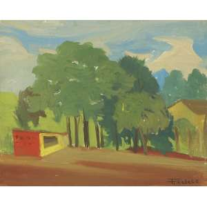 FRANCISCO REBOLO<br>Paisagem OST<br>32 x 26 1976 ACID <br>Cachet da Parnaso Galeria - SP<br>
