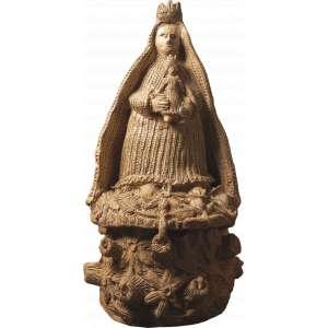 ANTÔNIO POTEIRO<br>Madona Escultura de cerâmica <br>100 x 50 x 50 Ass. Parte Lateral<br>