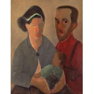"""JOSÉ PANCETTI<br>Auto retrato com Anita e Nilma – Mulher e filha<br>OSM 83 x 72 1943 ACID<br>Reproduzido no livro<br>""""Pancetti o pintor marinheiro"""" Ed. 1979 à pág. 88<br>Cachet do MAM – RJ<br>Retrospectiva José Pancetti<br>... frequentemente, interroga-se no espelho, pintando seu rosto ossudo, seus olhos ferozes, sua rudeza de marinheiro...<br><br>Flávio de Aquino"""