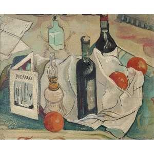 ALBERTO DA VEIGA GUIGNARD<br>Homenagem a Picasso OSM<br>33 x 40 1952<br>Ass. Parte Inferior e Verso<br>Coleção Tereza Castanheira - MG<br>Dentre as várias obras do artista em nossos museus, cabe destacar a natureza morta de 1952 no acervo do museu Nacional de Belas Artes no Rio, tão forte e tão próxima deste quadro, que também foi executado no mesmo ano.<br>
