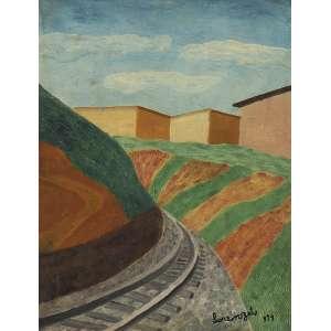 """LORENZATO<br>Via férrea OSD 40 x 31 1979 ACID <br>Cachet da Galeria Paulo Figueiredo – SP e<br>Cachet Paço das Artes – SP """"Pintores Primitivos""""<br>"""