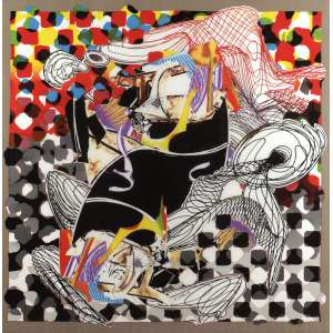 "Frank Stella - ""Whale Watch Shawl, From Moby Dick"" - Silkscreen em Seda Italiano 523/650 - 137 x 137 - 1994 - ACID"