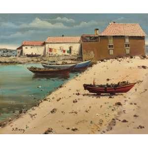 Sylvio Pinto - Pescadores – Figueira da Foz - Portugal - OST - 60 x 73 - Déc. 70 - ACID e Verso