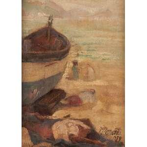 José pancetti - Descanso dos pescadores na Bahia de Guanabara - Oléo sobre Cartão Francês 23 x18 1939 ACID