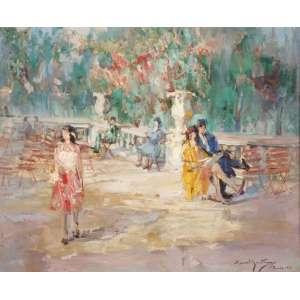 """Manoel Santiago - """"Luxemburgo"""" - OST - 50 x 60 - Paris 1931 - ACID - Participou do Salão das Tulherias – Paris 1931"""