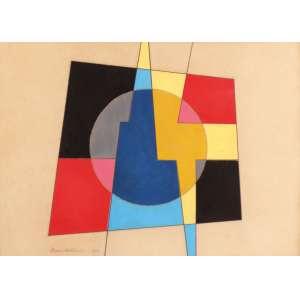 Mário Silésio - Geometrias - Guache - 35 x 50 - 1958 - ACIE - Com certificado da família do artista