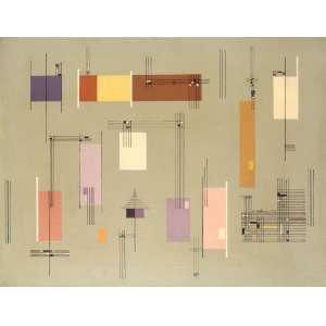 Maria Helena Andrés - Composição Construtiva - OST - 42 x 55 - 1952 - Ass. Verso - Com Cachet da Galeria Oscar Seraphico