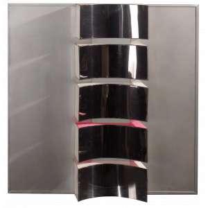 Yutaka Toyota - Espaço Negativo - Escultura em Madeira e Aço Inoxidável - 65 x 65 - 1972 - Assinada - Cachet da Galeria Ipanema peça única. Certificação com recibo de venda da Galeria Soraia Cals - RJ