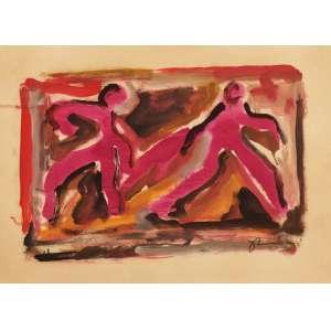 Jorge Guinle - Figuras - Guache - 28 x 38 - 1981 - ACID - Com certificado da Galeria Berenice Arvani - SP