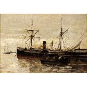 Giovanni Battista Castagneto - Barcos na Baia de Guanabara - OSM - 14 x 22 - Circa 1895