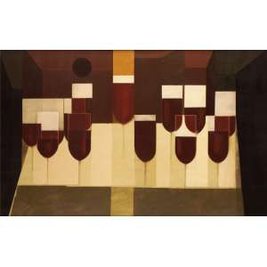Carlos Scliar - Santa Ceia - VCSE - 65 x 100 - 1970 - Ass. Verso - Cachet de retrospectiva do artista no verso MAM - RJ 1970