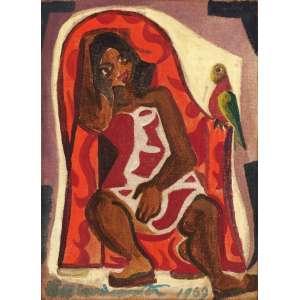 Emiliano Di Cavalcanti - Mulata com Papagaio - OST - 22 x 16 - 1969 - ACIE - Reproduzido em catalogo de exposição da Bolsa de Arte - RJ