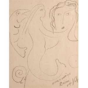 Alfredo Volpi - Figuras Femininas - Grafite - 26 x 20 - ACID - Ex-coleção Dulce Holzmeister esposa do artista Décio Vieira