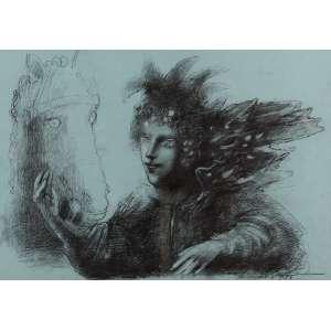 Marcelo Grassmann - Guerreiro e Cavalo - Desenho a Carvão46 x 61 - 1966 - ACIE e Verso