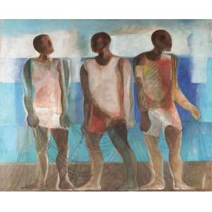 """João Quaglia - Pescadores - OST - 120 x 150 - ACID - Reproduzido no livro do artista """"Quaglia – 50 anos de arte"""" por Mário Margutti à pág. 35"""