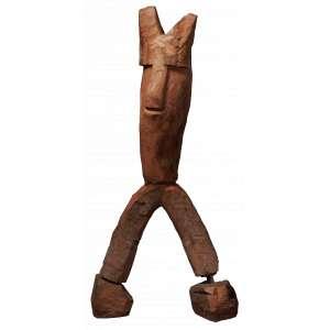 Zé Bezerra - O Homem Cão - Escultura em Madeira - 100 x 60 x 20 - Ass. Parte Inferior