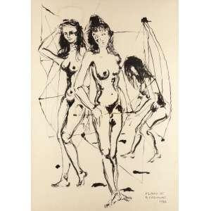 Flávio de Carvalho - Figuras Femininas Nanquim - 74 x 53 1972 ACID