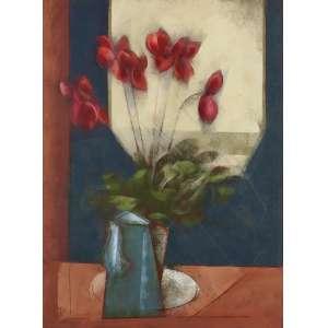 Carlos Scliar - Bule Azul e Flores Vermelhas - VCEST - 75 x 55 - 1996 - ACIE e Verso