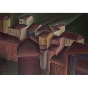 """Carlos Bracher - Telhados Monocromáticos """"Ouro Preto"""" - OST - 46 x 33 - Ouro Preto 18-11-73 - ACID e Verso - Nº 117/73"""