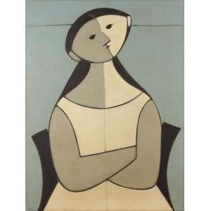 Milton Dacosta - Figura - OST - 83 x 63 - 1959 - Ass. Verso - Com cachet da galeria Cosme Velho - Apresenta documento de - Alexandre Dacosta