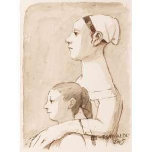 Reynaldo Fonseca - Figuras e Bichos Femininas - Aquarela - 39 x 28 - 2005 - Ass. Canto inferior direito