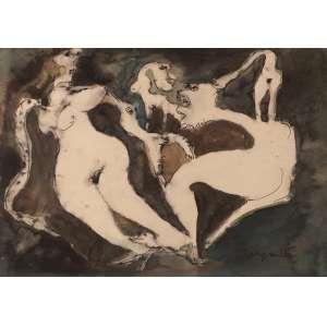 Ivan Serpa - Figuras e Bichos - Técnica Mista - 32 x 46 - 1972 - Ass. Canto inferior Direito - Reproduzido no catálogo da Bolsa de Arte em 2010