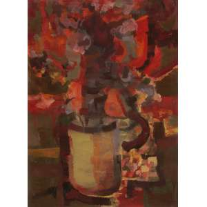 Enrico Bianco - Vaso de flores - Óleo sobre tela - 50 x 40 - 1966 - Ass. Canto inferior direito e Verso