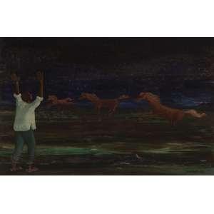 Clóvis Graciano - Cavalos na paisagem - Óleo sobre duratex - 32 x 47 - 1969 - Ass. Canto inferior direito