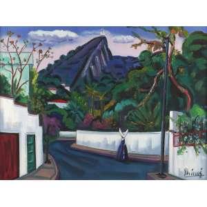 Inimá de Paula - Paisagem do Humaitá - RJ - Óleo sobre tela - 65 x 81 - 1988 - Ass. Canto inferior direito e Verso