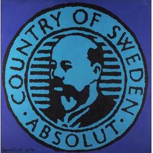 Romero Britto - Absolut – Country Of Sweden Série em 4 obras em 4 cores diferentes - Série Azul - Óleo sobre tela - 123 x 123 - 1992 - Ass. Canto inferior esquerdo