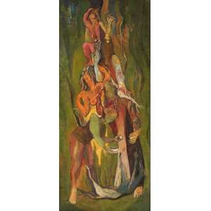 Pedro Correia de Araújo - Composição com figuras - Óleo sobre tela - 90 x 40 - Paris 1947 - Ass. Canto inferior esquerdo