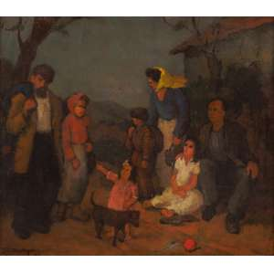 Ado Malagoli - Família de Colonos - Óleo sobre madeira - 33 x 40 - 1947 - Ass. Canto inferior esquerdo