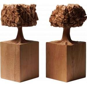 José Bento - Árvores - Par de esculturas em madeira - Com 20cm cada - Ass. na base