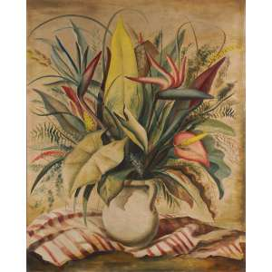 Enrico Bianco - Vaso de flores - Óleo sobre tela - 93 x 75 - Déc. 40 - Ass. Canto inferior direito