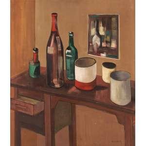 Mário Silésio - Composição com garrafas - Óleo sobre madeira - 80 x 67 - Déc. 70 - Ass. Canto inferior direito