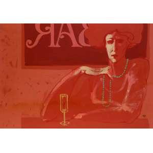 Juarez Machado - Bebedora de vinho - Óleo sobre duratex - 70 x 100 - 1984 - Ass. Canto inferior direito - Com recibo de venda de Waldir Simões