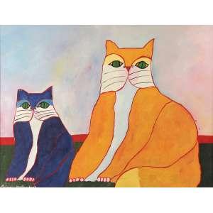 Aldemir Martins - Gatos - Óleo sobre tela - 60 x 80 - 2003 - Ass. Canto inferior esquerdo