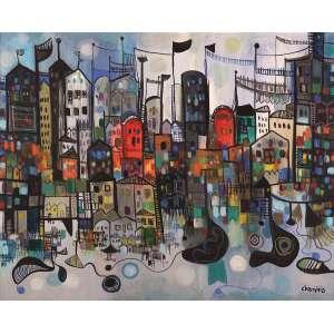 """Chanina - Cidades Invisíveis - Óleo sobre tela - 65 x 80 - Ass. Canto inferior direito - Reproduzido no livro """"Chanina"""" com vida e obra do artista à pág. 197 escrito por Jacob Klintowitz"""