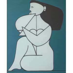 Milton Dacosta - Figura - Óleo sobre tela - 100 x 81 - Déc. 60 - Ass. Verso