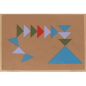 Judith Lauand - Composição Geométrica - Técnica Mista - 35 x 52 - 1976 - Ass. Canto Inferior Direito