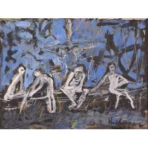 Iberê Camargo - Mendicantes do Parque da Redenção - Guache e Nanquim - 34 x 45 - 24/07/1987 - Ass. Verso Porto Alegre - Obra Nº 53 do ano de 1987