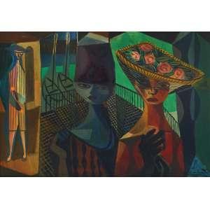 Emiliano Di Cavalcanti - As mulheres do cais - Óleo sobre tela - 65 x 90 - 1959 - Ass. Canto inferior direito e Verso