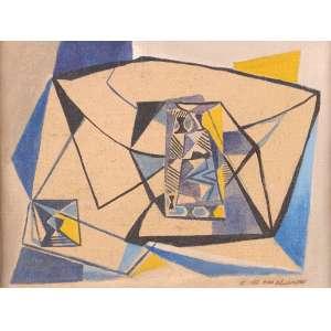 Emiliano Di Cavalcanti - Estudo para mural - Óleo sobre tela - 26 x 33 - Ass. Canto inferior direito e Verso