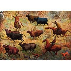 Carybé - Vaqueiros na caatinga baiana - Acrílica sobre chapa - 35 x 50 - 1980 - Ass. Canto inferior direito