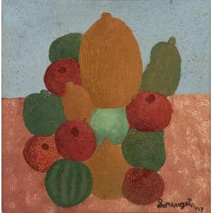 Lorenzato - Pirâmide de frutas - Óleo sobre tela - 38 x 38 - 1983 - Ass. Canto inferior direito