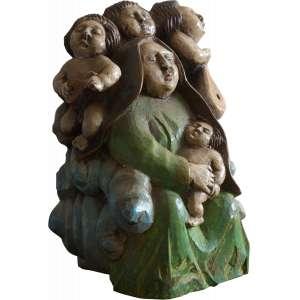 Maurino Araújo - Concerto de Querubins - Escultura em madeira policromada - 28 x 20 x 16 - Ass. Na base