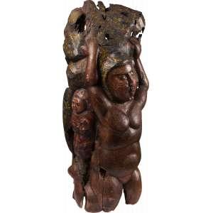 Maurino Araújo - Anjo - Escultura em madeira policromada - 85 x 36 x 30