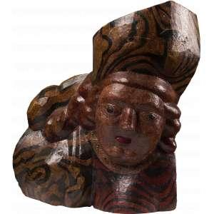 Maurino Araújo - Querubim - Escultura em madeira policromada - 50 x 50 x 15 - Ass. Na base