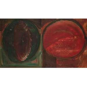 Amílcar de Castro - Círculos Geométricos - Óleo sobre chapa - 60 x 106 - Ass. Canto inferior direito - Obra em que o artista apresentou experimentos em cores, por isto, considerada obra de transição - Catalogado no Instituto Amilcar de Castro sob acervo ID.ACVDES5861978